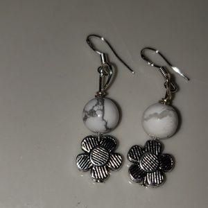 Jewelry - Sterling silver howlite &Tibetan silver earrings